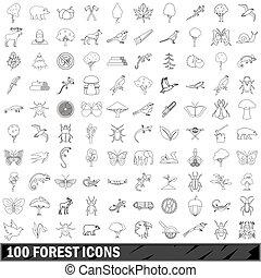 stile, contorno, icone, set, foresta, 100
