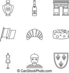 stile, contorno, icone, set, francia, turismo