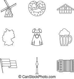 stile, contorno, icone, set, germania, turismo