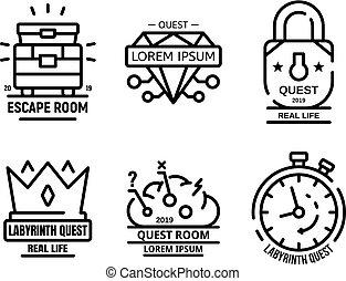 stile, contorno, icone, set, gioco, ricerca