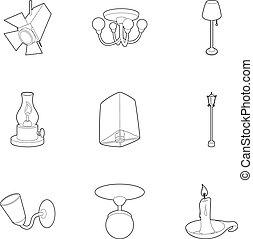 stile, contorno, icone, set, luce, apparecchiatura