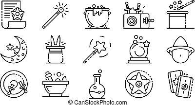 stile, contorno, icone, set, mago, attrezzi