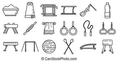 stile, contorno, icone, set, moderno, apparecchiatura, ginnastica
