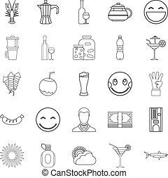 stile, contorno, icone, set, pancia birra