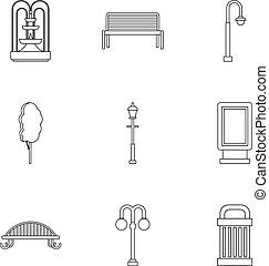 stile, contorno, icone, set, parco, apparecchiatura