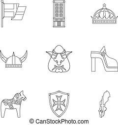 stile, contorno, icone, set, svezia, turismo