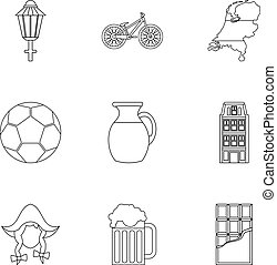 stile, contorno, icone, set, turismo, olanda