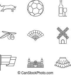 stile, contorno, icone, set, turismo, spagna