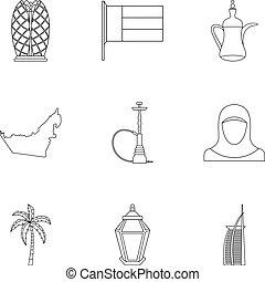 stile, contorno, icone, set, turismo, uae