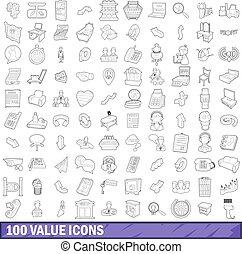 stile, contorno, icone, set, valore, 100