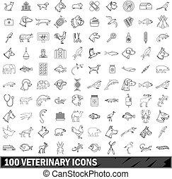 stile, contorno, icone, set, veterinario, 100