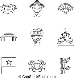 stile, contorno, icone, set, vietnam, turismo