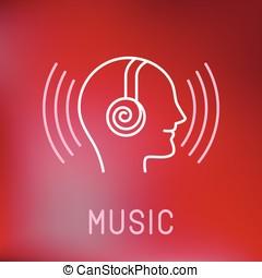 stile, contorno, logotipo, musica, vettore