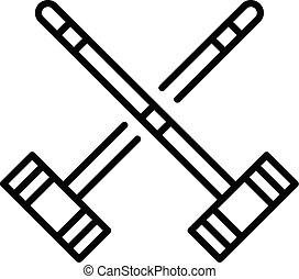 stile, contorno, maglio, croce, croquet, icona