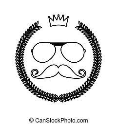 stile, cornice, ghirlanda, hipster, baffi, occhiali