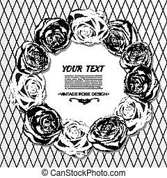 stile, cornice, vettore, roses., retro, floreale