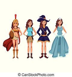 stile, cosplay, donne