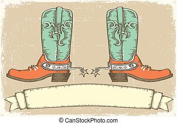 stile, cowboy, testo, stivali, .vintage, rotolo