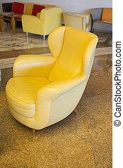 stile, cuoio, vendemmia, moderno, sedia gialla, crema