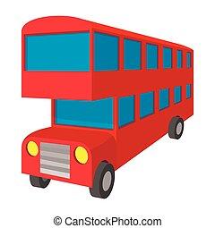 stile, decker doppio, londra, autobus, icona, cartone animato, rosso
