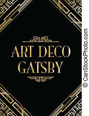 stile, deco, arte, gatsby, fondo