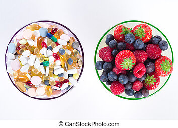 stile di vita, pillole, spazio, sano, vitamina, dieta, concetto, frutta, supplementi, fondo, bianco, copia
