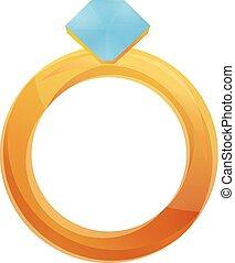 stile, diamante, oro, icona, anello, cartone animato