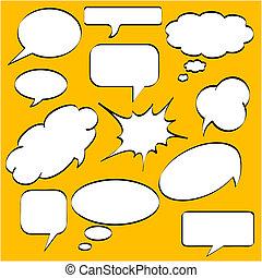 stile, discorso, bolle, comics
