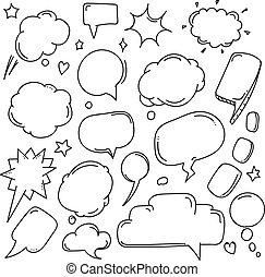 stile, discorso, parlare, astratto, hand-drawn, fondo, comico, nubi, set, bubbles.