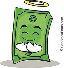 stile, dollaro, carattere, faccia, innocente, cartone animato