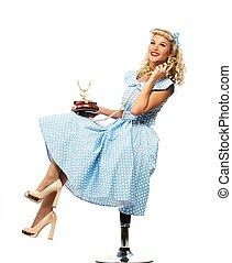 stile, donna, blu, su, giovane, perno, telefono, coquette, biondo, vendemmia, vestire