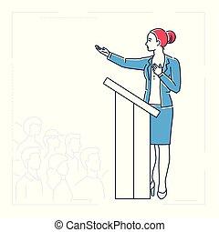 stile, donna d'affari, -, isolato, illustrazione, piattaforma, disegno, linea, parlante