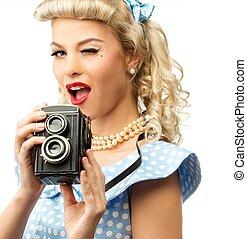 stile, donna, macchina fotografica, blu, su, giovane, perno, coquette, biondo, vendemmia, vestire