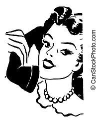 stile, donna, vendemmia, telefono, parlare, versione, nero, ...