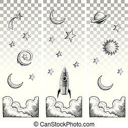 stile, elementi, cielo, scratchboard, disegni, inchiostro