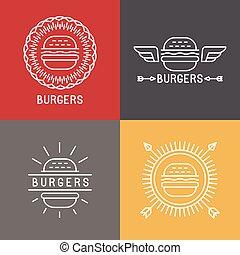 stile, elementi, lineare, hamburger, vettore, disegno, logotipo
