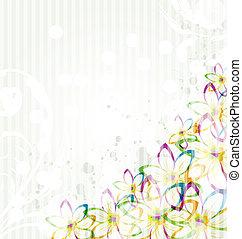 stile, elementi, trasparenza, vendemmia, -, illustrazione, multicolor, vettore, disegno, fondo, fiori, card.