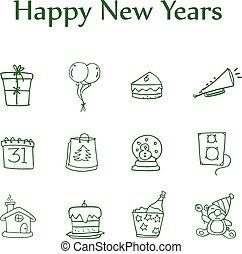 stile, elemento, colletion, anno, nuovo, icona