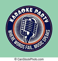 stile, emblema, illustration., microfono, vettore, musica, retro, festa., karaoke