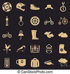 stile, esterno, icone, set, sport, semplice