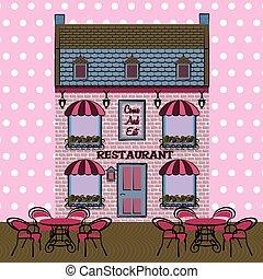 stile, facade., ristorante, illustrazione, fondo., vettore, retro