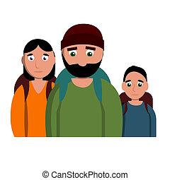 stile, famiglia, triste, senzatetto, icona, cartone animato