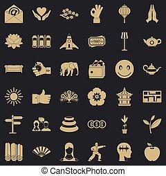 stile, fiore, yoga, icone, set, semplice