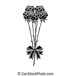 stile, fiori, icona, mazzolino, simbolo, web., illustrazione, singolo, vettore, nero, fresco, design., casato