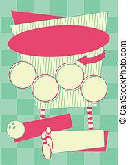 stile, fondo, 1950s, cornice, bowling