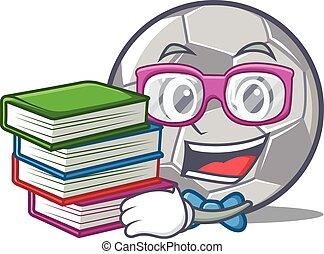 stile, football, carattere, libro, studente, cartone animato