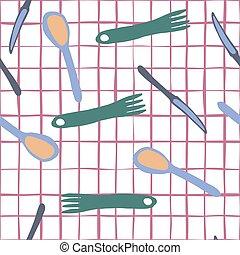 stile, forchetta, semplice, modello, seamless, cucchiaio, coltello