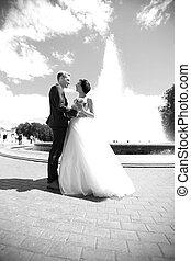 stile, foto, sposo, sposa, retro, felice