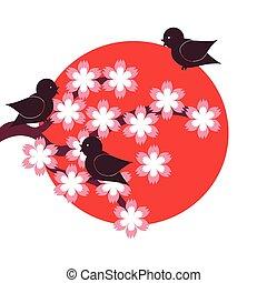 stile, giapponese, illustrazione