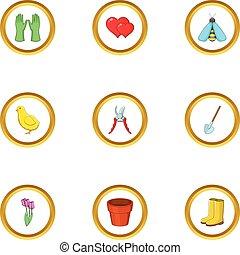 stile, giardino, icone, set, cartone animato, cura